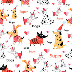 Seamless funny pattern of enamored funny dogs