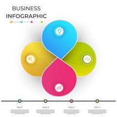 Paper infographics, with four (4) steps.