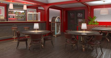 Interior restaurant is in red with a bar and tables, leather armchairs and jukebox. 3d illustration