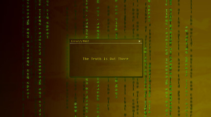 2d colorful illustration. Conceptual wallpaper with text. Graphic resources. Error warning. Matrix and x-files.