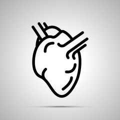 Simple black human heart icon with with shadow