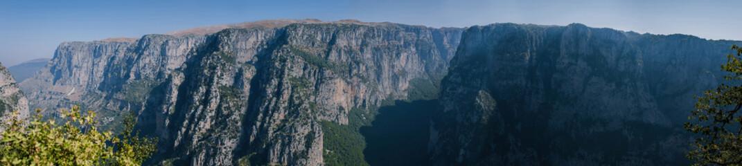 Panorama of gorge of Vikos in Greece. Vikos gorge  in the Zagoria region.  National park of Pindus mountain. Greece. Epirus