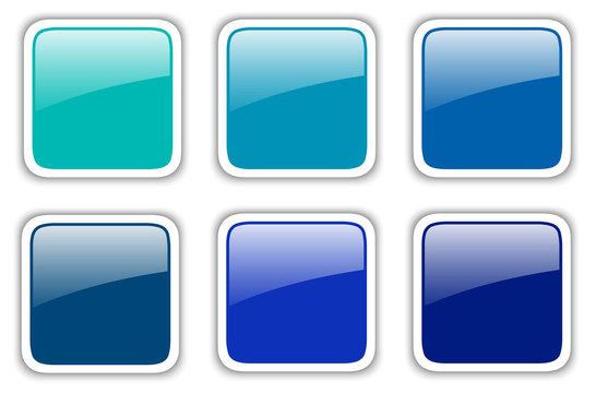 Shiny buttons set, blue square vector badges.