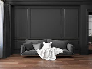 Classic black interior with sofa.