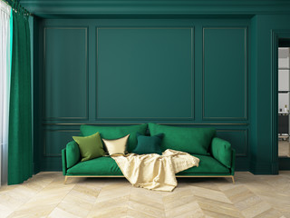 Classic green interior with sofa.