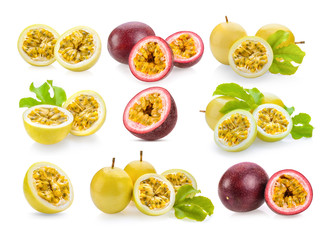 set of passionfruit isolated on white background