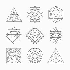 Sacred geometry. Alchemy, religion, philosophy, hipster elements. Geometric shapes. Vector illustration.