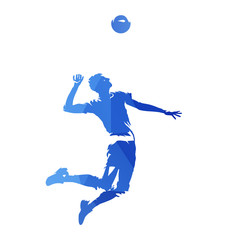 Volleyball player serving ball, abstract blue geometric vector silhouette