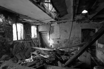 Abandoned farm in Jutland black and white
