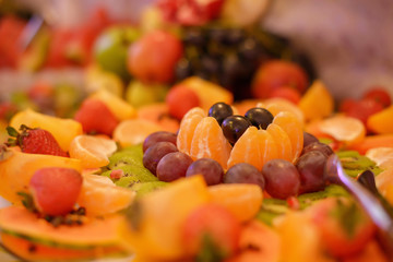 Colorful fruit platter with a large variety of exotic and season fruit, prepared for a food bar, reception or any type of celebration, in tune and today's healthy living mantra