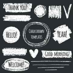 Chalk or pencil drawn graphic elements collection - strokes, stripes, frames, rectangle, oval and round shapes, heart, tick. Chalk forms on black board with lettering - thank you, hello, welcome.