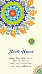 name card or business card with mandala ornament
