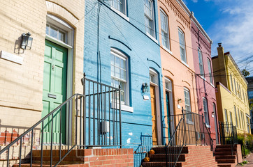 Colourful Row Houses with Wooden Doors on a Sunny Autumn Day. Georgetown, Washington DC.