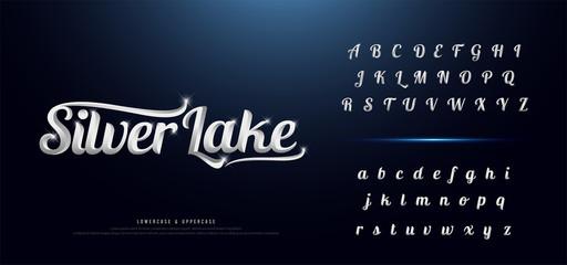 Set of Elegant silver Colored Metal Chrome alphabet font. Typography classic style serif font set for logo, Poster, Invitation. vector illustration