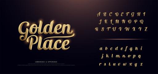 Set of Elegant Gold Colored Metal Chrome alphabet font. Typography classic style golden font set for logo, Poster, Invitation. vector illustration