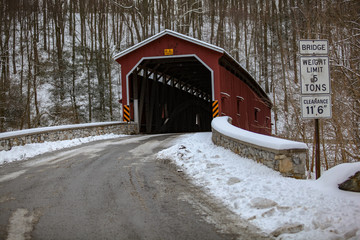 The Colemansville Covered Bridge after Winter Snow