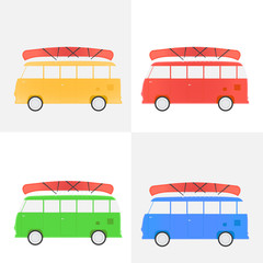 Bus for traveling with a canoe, set of different flowers