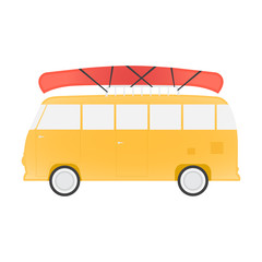 Yellow bus for travel with canoe