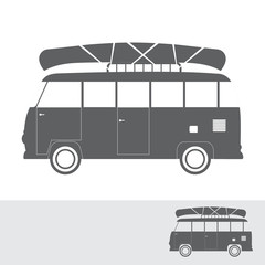Monochrome bus for travel with canoe