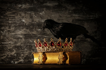 low key image of beautiful queen/king crown and black crow. fantasy medieval period. Selective focus.