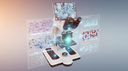 Modern digital microscope with screen analysis 3D rendering
