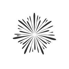 Fireworks display celebration icon in black flat outline design