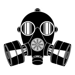 Gas mask on white background. Breathing apparatus with two filters.