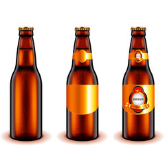 Dark beer bottle design 3d realistic vector