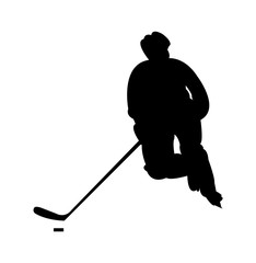 Hockey player in action silhouette