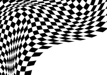 Checkered flag wave flying monochrome design sport race championship business success background vector illustration.