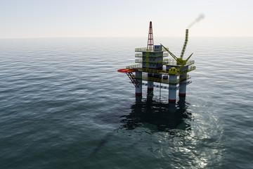oil platform in the sea, ocean 3d
