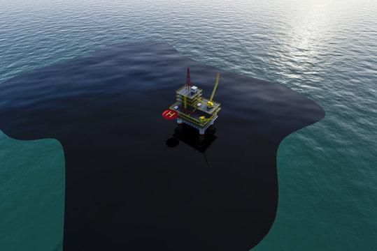 oil slick on the sea crash on the oil platform 3d