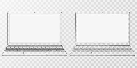 laptop outline. computer outline vector eps10