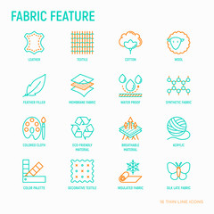 Fabric feature thin line icons set: leather, textile, cotton, wool, waterproof, acrylic, silk, eco-friendle material, breathable material. Modern vector illustration.