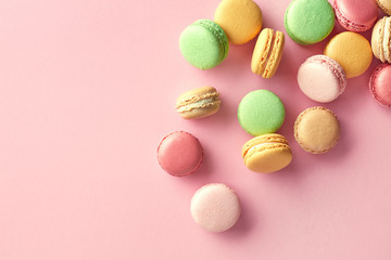 Self adhesive Wall Murals Macarons Colorful french macarons on pink background