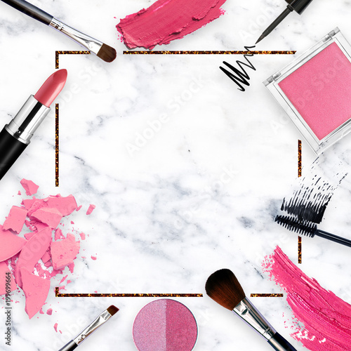 quotwhite marble background with lipstick tools eyeliner