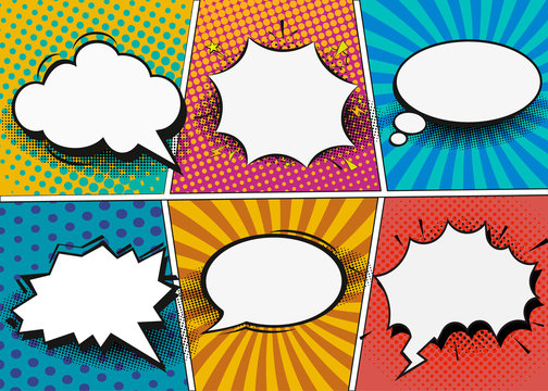 Comic book page template in pop-art style. Retro comic empty speech bubbles set on colorful background. Vector illustration, vintage design, pop art style.