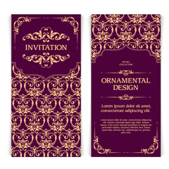 Vector set of vertical banners with ornamental frame and seamless patterned background.