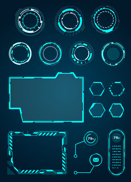 Set HUD Circle, Frame for Game, Sci fi Interface Elements - for Web Applications, Futuristic UI - Illustration Vector