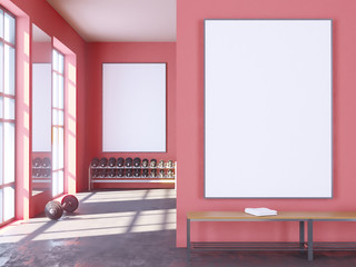 Mock up scene, 3d illustration , sport, gym, fitness, locker room  space,  sport,  template,  towel,  trainer,  up,  view