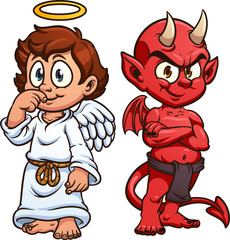 Cartoon angel and devil. Vector clip art illustration with simple gradients. Each on a separate layer.