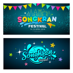 Amazing Songkran festival banners collections on blue background, vector illustration