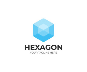 Transparent hexagon logo template. Transparent cube vector design. Hexagonal shape logotype