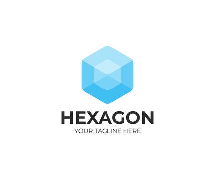Transparent hexagon logo template. Transparent cube vector design. Hexagonal shape logotype
