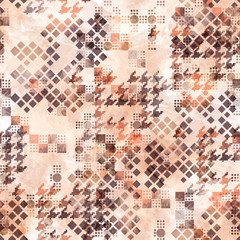 Abstract seamless pattern houndstooth design. Grunge dogtooth background. Bright print with watercolor effect. Textile print for bed linen, jacket, package design, fabric and fashion concepts.