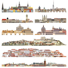 Fototapete - vector skylines of old historic part of cities