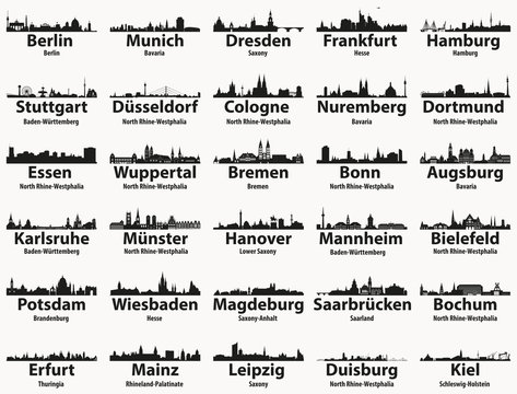 Germany largest cities skylines silhouettes vector set