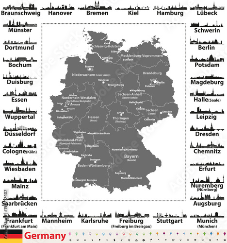 germany map with state capitals and largest cities skylines silhouettes