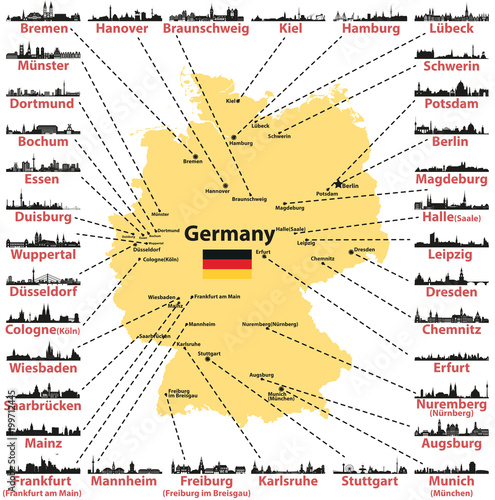 Germany vector map with states capitals and largest citites skylines ...