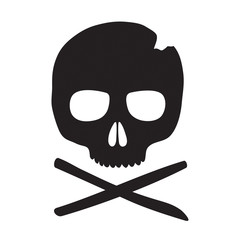 Skull vector icon. Black skeleton emblem isolated on a white background.